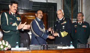 Chief of the Naval Staff Admiral Sunil Lanba received the Chairman, Chiefs of Staff Committee (COSC) baton from the outgoing Chief of Air Staff, Air Chief Marshal Arup Raha at a ceremony in South Block, New Delhi