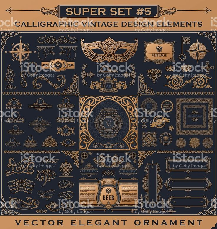 Calligraphic vintage elements. Vector baroque set. Design icons royalty-free stock vector art