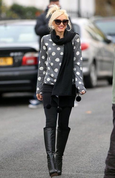 Black and greySweaters, Gwenstefani, Gwen Stefani, Fashion, Polka Dots, Style, Polkadot, Outfit, Black Boots