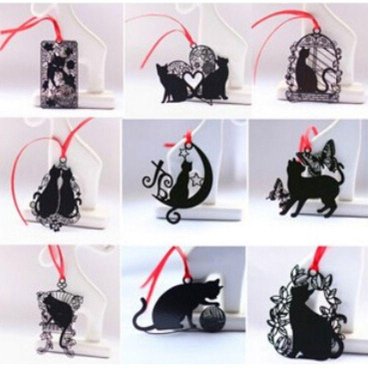 DIY Kawaii Lindo Gato Negro de Metal Marcador de Libro De Papel Artículos Creativos Encantadores Corea Papelería Regalos Envío Libre Del Paquete 441