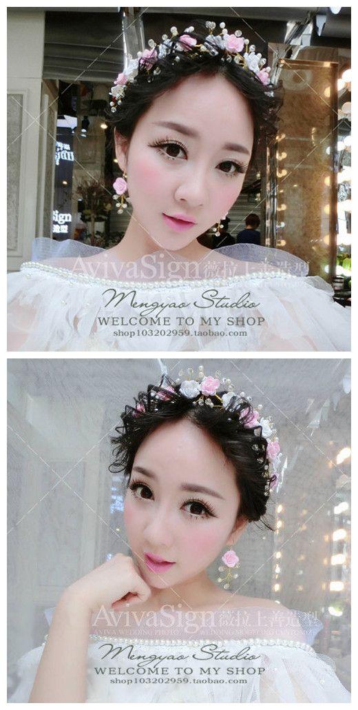 Сладкие белые розовые цветы невесты голова цветок головной убор кристалл жемчужные серьги костюм свадебные украшения для укладки волос аксессуары - Taobao