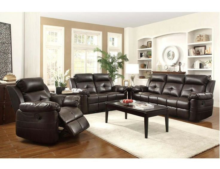 Coaster Brown Leather Tufted Reclining Sofa Loveseat Recliner Living