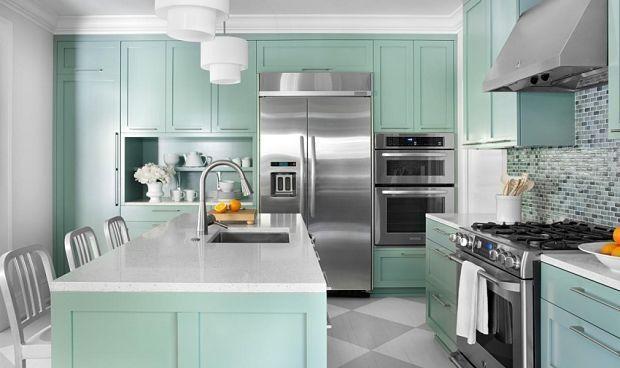Nos gusta el color en la #decoración de #cocinas.