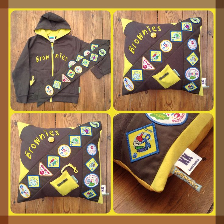 Cherish those hard earned Brownie Badges forever and turn the old uniform into a Keepsake Kushion the ultimate personalised cushion www.facebook.com/kasieskomfortsuk
