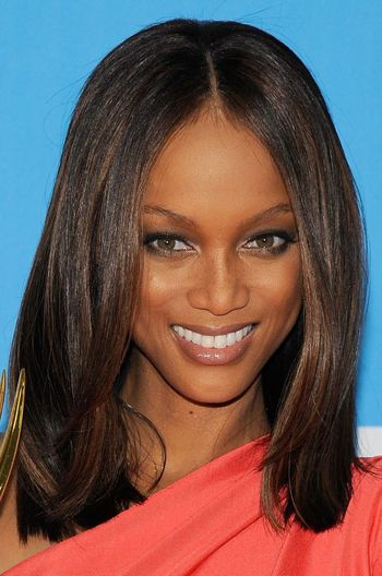 Tyra Banks Inspired Black Long Bob Straight Hair Celebrity Lace Wigs