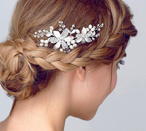 Silver Pleated Bridal Or Bridesmaid Hair Accessories It Is Hand Wired With Swarovski Crystal Freshwater