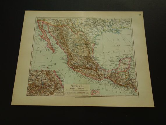 Mexico Antique map  original 100 years old print by VintageOldMaps