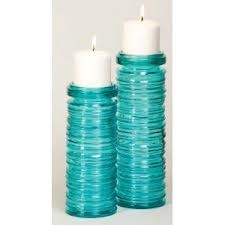 Cape Craftsmen Set of 2 Tropical Teal Candle holders - Eco-Friendly and Recycled