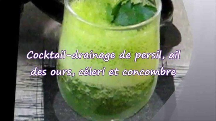 Cocktail drainage de persil au concombre, ail des ours, céleri
