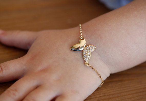 Gold Butterfly Bracelet Baby Bracelet Baptism by MinimalVS on Etsy, $32.00