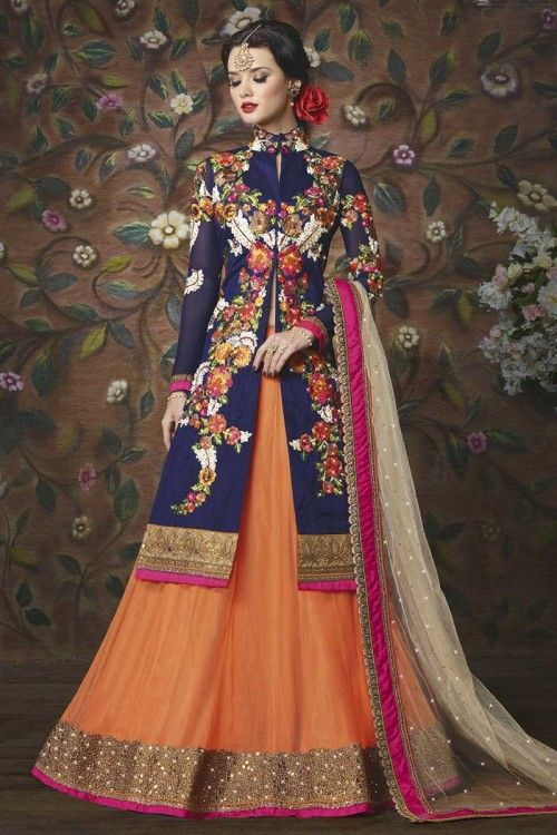 Vêtements de mariée indienne, chaniya de soie Orange art choli-Andaaz Fashion dans la boutique. Andaaz mode apporte la dernière collection de vêtements ethniques de créateurs en FR
