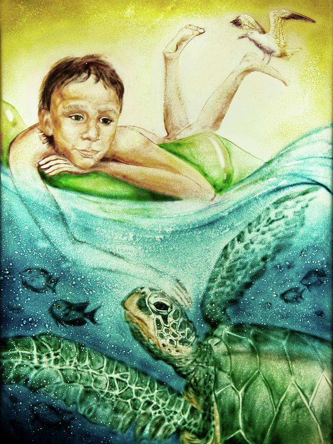The Boy And The Turtle Painting by Elena Vedernikova  Belongs to the Gallery RUSSIAN ARTISTS NEW WAVE.   Sand art is the practice of modelling sand into an artistic form, such as a sand brushing, sand sculpture or sand painting  #RussianArtistsNewWave #ElenaVedernikova #SandPainting #SandArt #Boy #ArtForKidsRoom  #Drawing