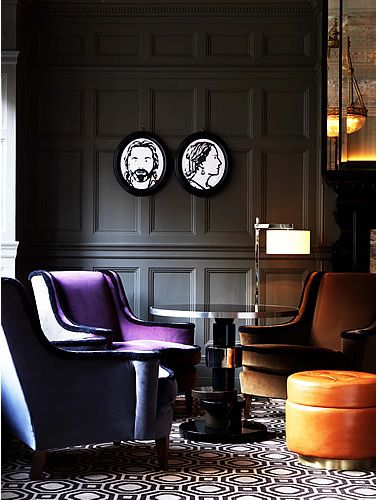 technically grey but still fabulous with gorgeous velvet chairs.  Love the whimsical portraits too!