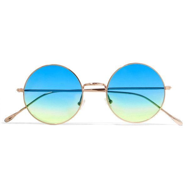 Illesteva Porto Cervo oversized round-frame gold-tone mirrored... ($195) ❤ liked on Polyvore featuring accessories, eyewear, sunglasses, glasses, blue, round mirrored sunglasses, round frame sunglasses, round blue sunglasses, oversized sunglasses and blue mirror sunglasses