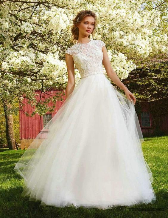 A Line Modest Wedding Dresses Short Sleeves Tulle Skirt 2016 Outdoor Brides Wedding Gown Appliques Lace Bodice Beaded Belt Robe De Mariee Bridal Lace Budget Wedding Dresses From Adminonline, $154.65| Dhgate.Com