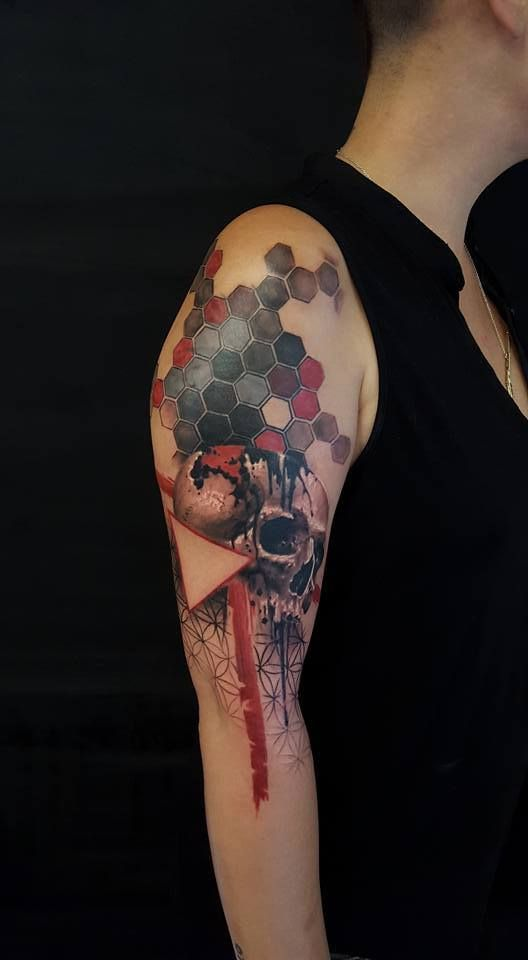 Trash polka skull cover up tattoo done by Csaba.  Chronic Ink Tattoo - Toronto Tattoo