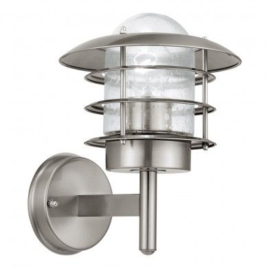 Mouna stainless steel fisherman outdoor garden lantern wall light by qvs the uks leading electrical supplies wholesaler