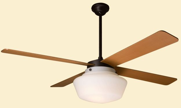 Schoolhouse Fan In Rubbed Bronze Finish With Opal Glass Shade, Available In  Incandescent And Energy