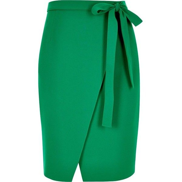 River Island Green wrap skirt (£30) ❤ liked on Polyvore featuring skirts, green, tube / pencil skirts, women, wrap midi skirt, river island, green midi skirt, calf length skirts and wrap front skirt