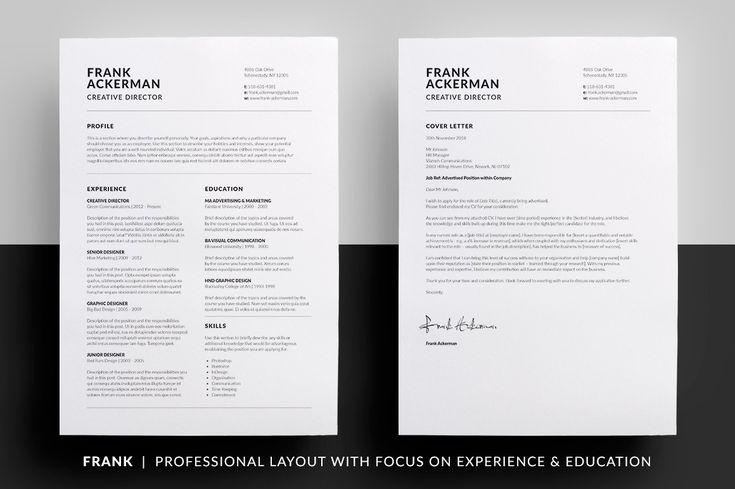 Essential Resume / CV & Cover letter Collection - Clean, Minimal design. MS Word | Photoshop | inDesign by bilmaw creative on @creativemarket