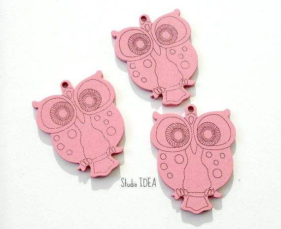 Set of 2 large Pink Wooden Owl Embellishments Wooden by StudioIdea