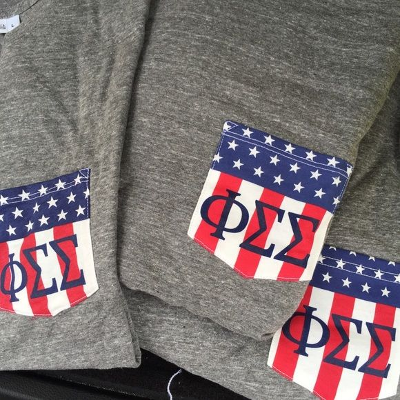Phi Sigma Sigma American Flag Pocket Tank Small Brand new, never been worn. From The Greek Years. Unisex pocket tee, large. Print slightly off (third photo). Tops Tank Tops