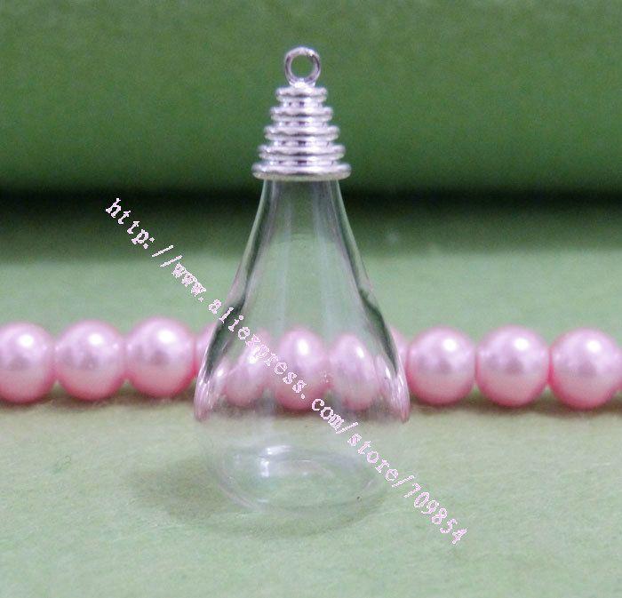 6 * 18 * 30 мм лежа капля воды форма стекло глобус пузырь + посеребрение верхний кепка