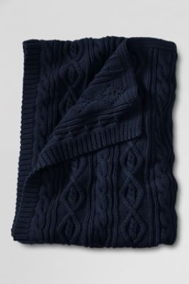 Lands' End Lakeland Cotton Cable Throw - Navy