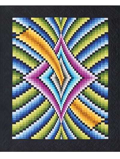Mystique Bargello Quilt Pattern ~ A beautiful illusion in a quilt! This bargello quilt is beautifully mesmerizing and is bound to capture anyone's attention. The easy strip-piecing method allows for a smashing finished quilt without doing loads of work! Pattern includes instructions for fabric purchasing, how to piece all the colors together, and a chart so you can easily piece the finished project.