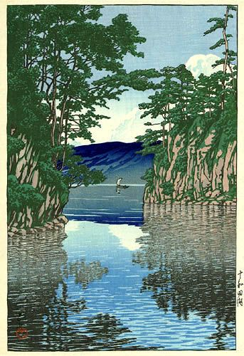 Lake Towada  by Kawase Hasui, 1927  (published by Bijutsusha)