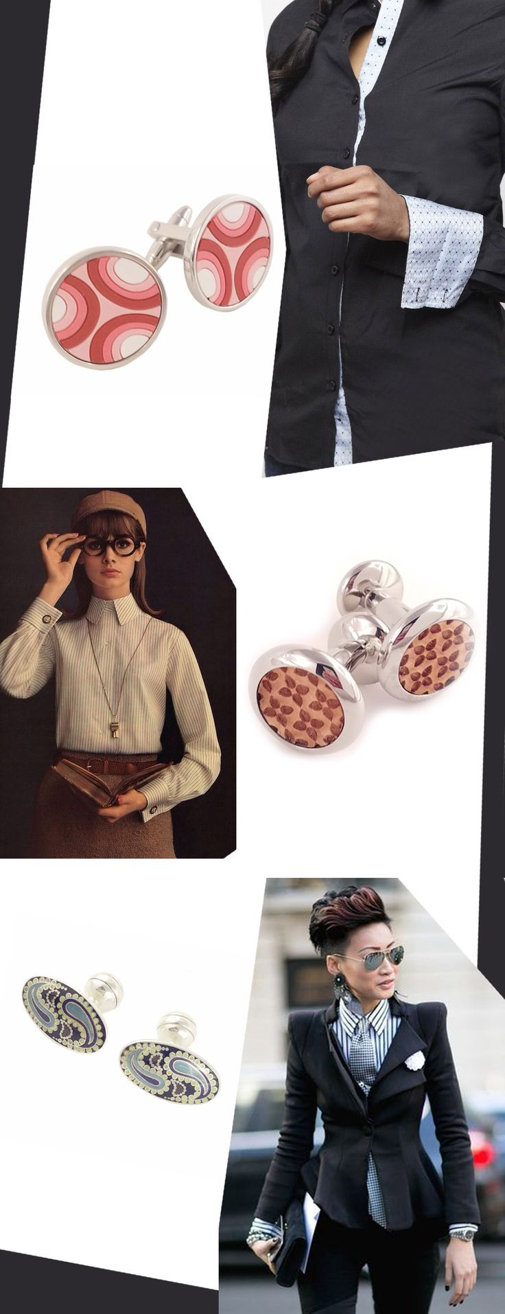 We are seeing more and more women wearing suits and shirts with cufflinks. Shown here are some great ideas to finish your outfit. Top is Red Jax Cufflinks by Imooi. $52.  Middle is Oval Petal Wood by Imooi. $60. Bottom is Sterling Silver Oval Paisley by Duchamp London. $192.50. All styles available on our website.  #fashion #tips #women #woman #womens #shirt #jewelry #designer #style #shopping #accessories #cufflinks