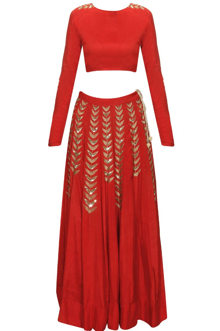 Red ferns embellished crop top and lehenga skirt available only at Pernia's Pop Up Shop.