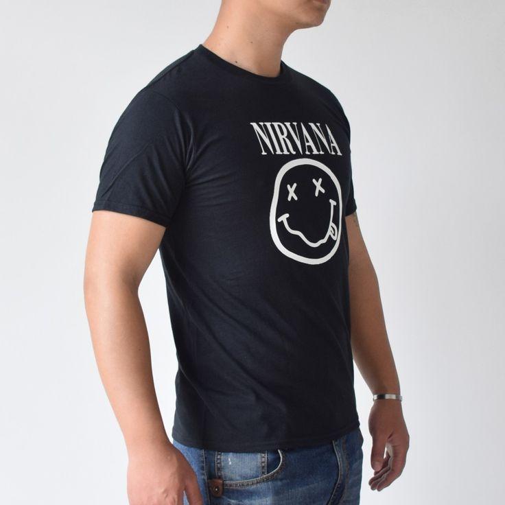 haoqifetniu NIRVANA Smiley Face KURT COBAIN rock T Shirt trasher Tshirt 2017 Mens Men Cotton T-shirt Camisetas Hombre