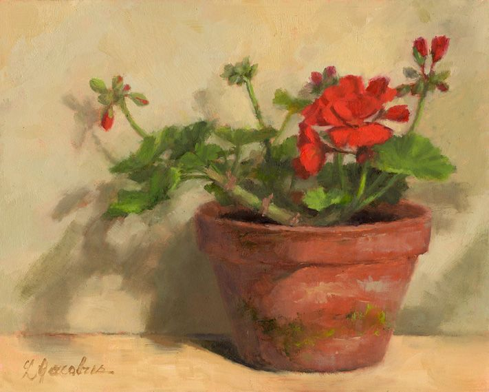 Linda's Witness in Art: Geranium Flower and Buds 8x10 oil