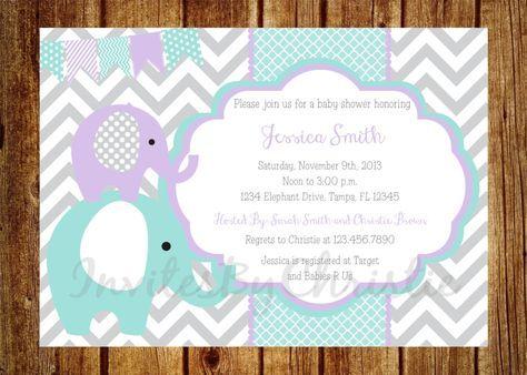 Teal, Purple and Gray Elephant Baby Shower Invitation- Digital File- DIY Printable - Elephant Baby Shower Invitation, Chevron Invitation by InvitesByChristie on Etsy