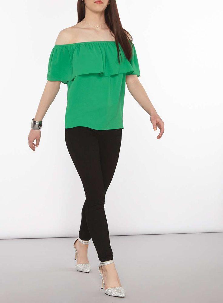 Womens Petite Green Ruched Bardot Top- Green