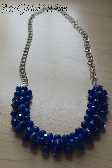 DIY Cobalt Blue Cluster Necklace by My Girlish Whims