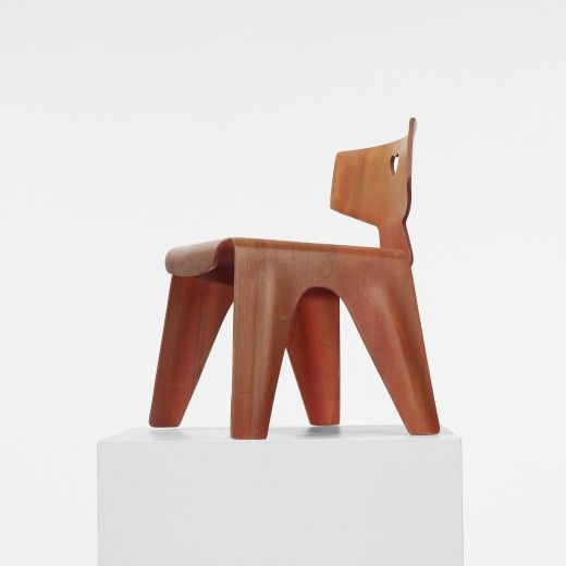 CHARLES AND RAY EAMES    child's chair    Evans Products  USA, 1945  aniline-dyed birch plywood  13.25 w x 11 d x 14.5 h inches  #introdesign #eames #chair #childrenfurniture