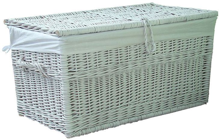 Kufer wiklinowy biały z obszyciem 70/43/38h