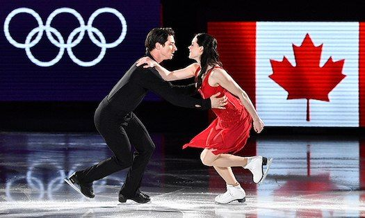 """Grand finale! Tessa Virtue and Scott Moir stole the show at the ice skating gala as the Pyeongchang Olympic Games came to a close. The proud Canadians paid tribute to one of Scott's heroes, the late Gord Downie, by skating to The Tragically Hip's """"Long Time Running."""" Photo: © Getty Images"""