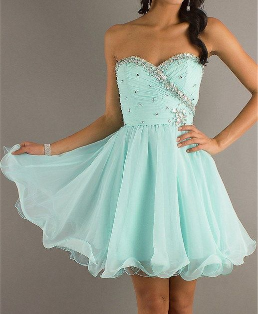 Sweet Light Sky Blue Sweetheart Mini Prom Dress on Etsy, $143.99