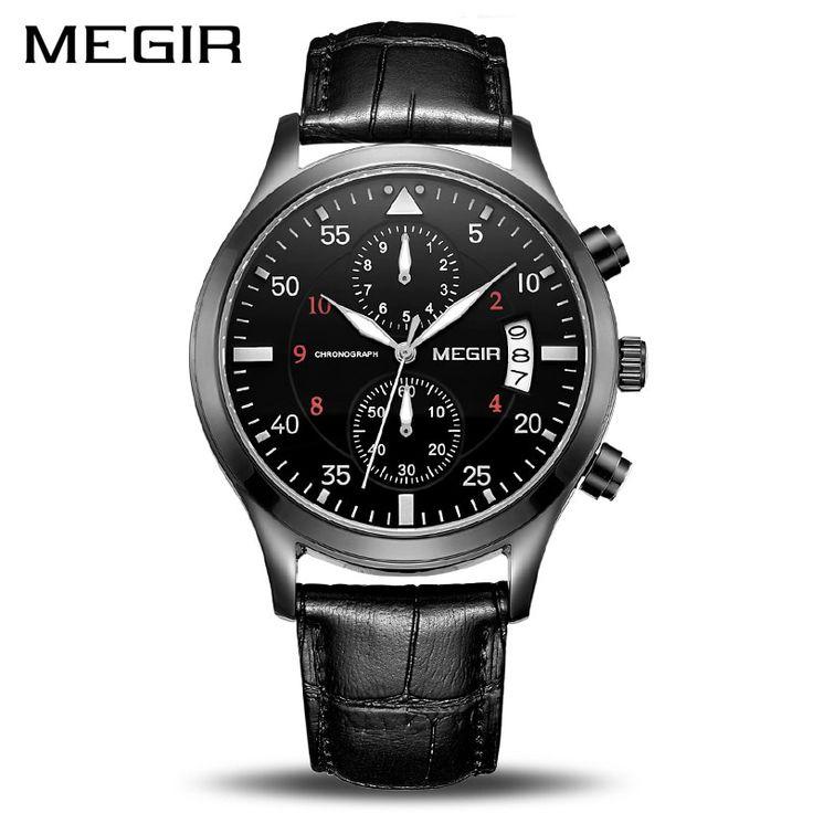 MEGIR Original Men Business Watch Top Brand Luxury Leather