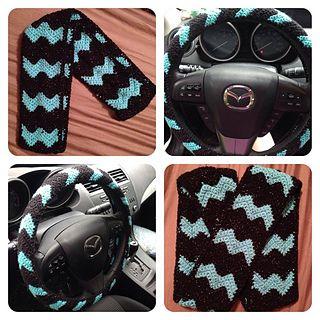 Chevron Steering Wheel Cozy - Free crochet pattern by Laura Reincke.
