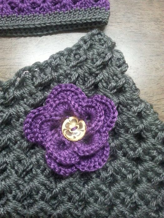 Gorgeous grey Poncho with Purple flower and by Addicted2theHook
