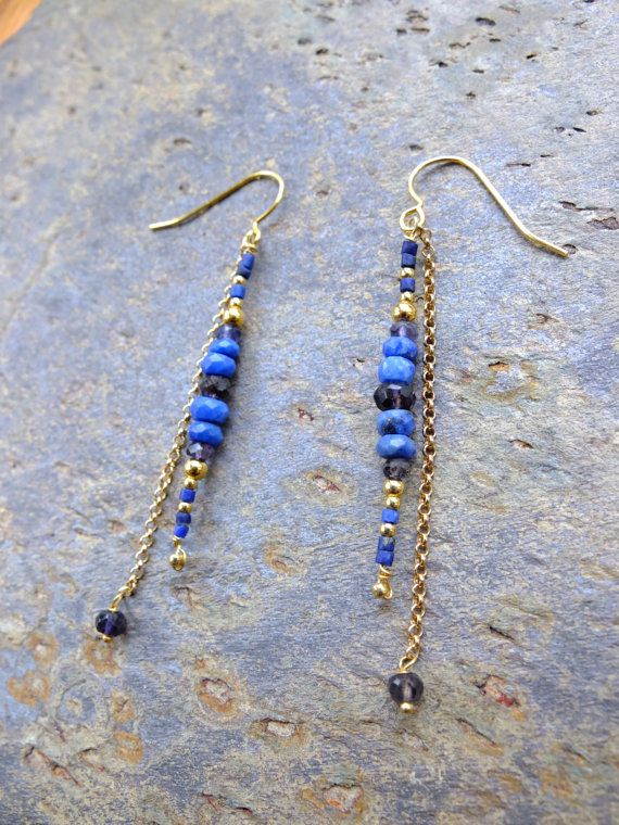 Lapis Lazuli gold earrings - vermeil and blue gemstones - ethnic chic by Misty…