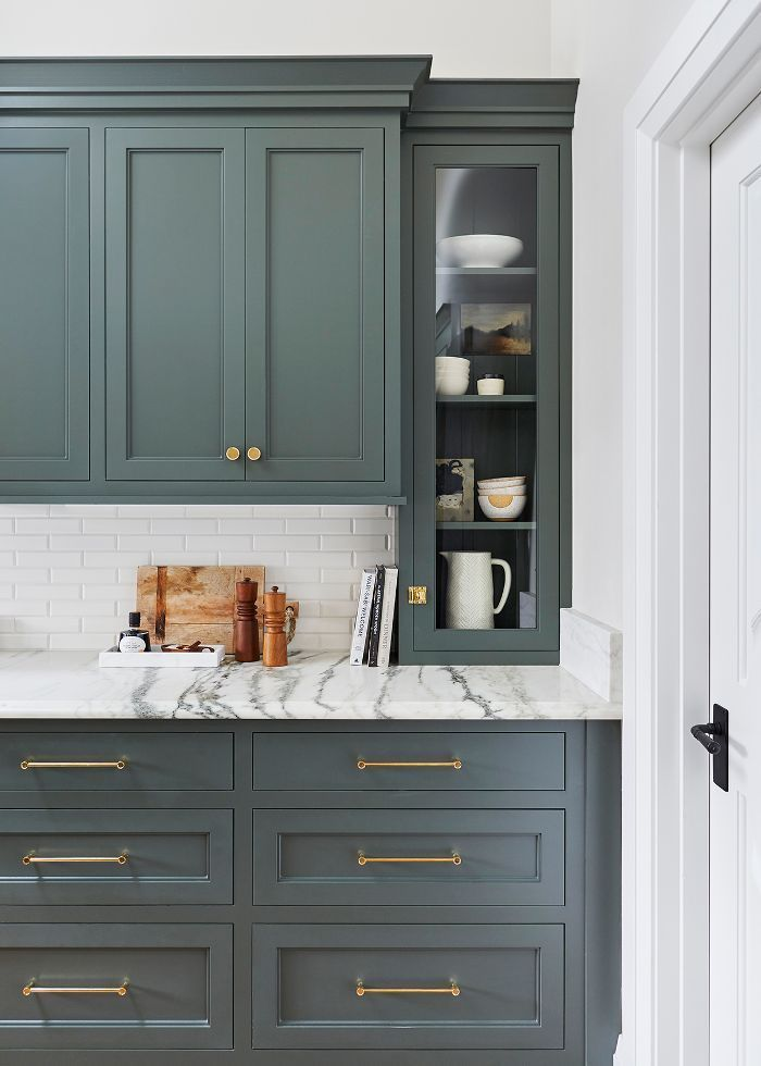 We Want These Green Kitchen Cabinets Stat Kitchen Color Trends Kitchen Renovation Interior Design Kitchen