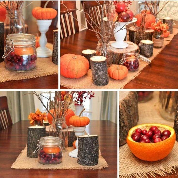 décoration de table automne - chemin de table en toile de jute, citrouilles orange, brindilles, agrumes et baies rouges