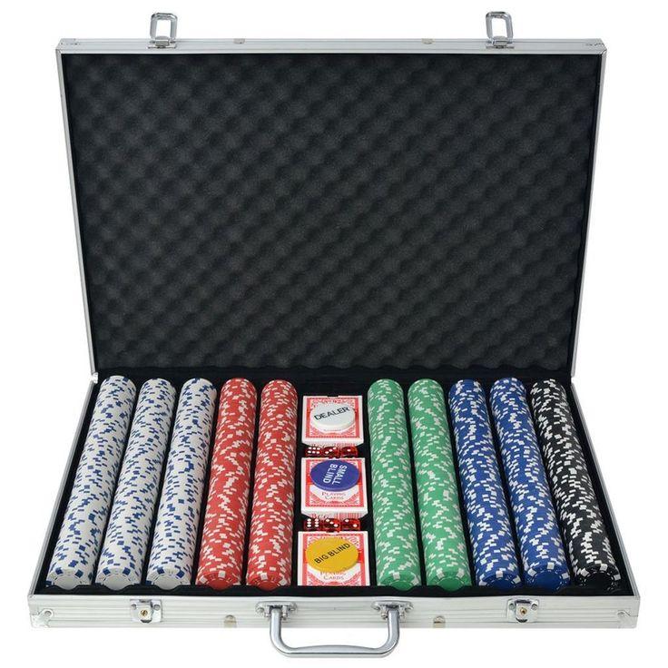 Aluminium Poker Set Casino Playing 1000 Pieces Chips Dice Deck Card Case Laser #AluminiumPokerSet