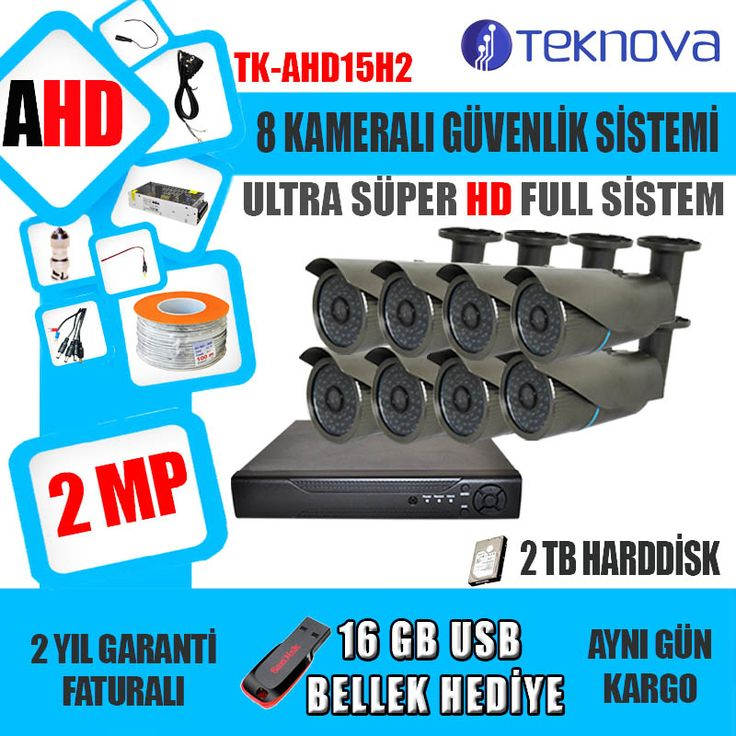 8 Adet 2 MP 1080P Güvenlik Kameralı 2 TB Hdd Dahil AHd Güvenlik Sistemi Şok Fiyat 349,50 USD USB Bellek Hediye   http://www.teknovaguvenlik.com/teknova-8-adet-2-mp-ahd-kamerali-hd-guvenlik-sistemi-tk-ahd15h2-pmu51
