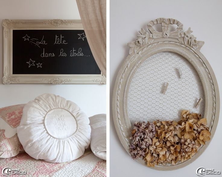 Louis XV antique frame diverted blackboard antique oval frame with a chicken wire to use as collage